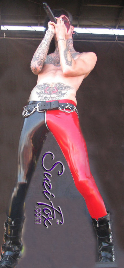 Mens Low Rise Leggings shown in Gloss Black & Red Vinyl/PVC Spandex, custom made by Suzi Fox. Custom made to your measurements! • shown with optional 1 slider front zipper. • Available in black, white, red, navy blue, royal blue, turquoise, purple, Neon Pink, fuchsia, light pink, matte black (no shine), matte white (no shine), black 3D Prism, red 3D Prism, Turquoise 3D Prism, Baby Blue 3D Prism, Hot Pink 3D Prism Vinyl and any fabric on this site. • 1 inch no-roll elastic at the waist. • Optional 1 or 2-slider crotch zipper. • Choose your ankle size - tight ankles, jean cut, boot cut, or bellbottom. • Optional ankle zippers. • Optional belt loops. • Optional rear patch pockets. Made in the U.S.A. Photo of Jayy Von Monroe of the band Blood on the Dancefloor.
