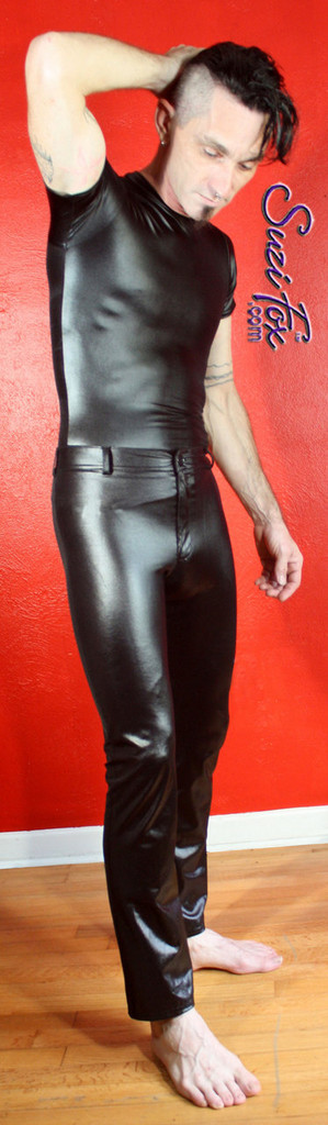 Mens Jean style Pants shown in Black Wetlook Lycra Spandex, custom made by Suzi Fox. Custom made to your measurements! • Available in black, white, red, turquoise, navy blue, royal blue, hot pink, lime green, green, yellow, steel gray, neon orange Wet Look and any fabric on this site. • Fly front zipper and waistband. • Choose your ankle size - tight ankles, jean cut, boot cut, or bellbottom. • Optional ankle zippers. • Optional belt loops. • Optional rear patch pockets. Made in the U.S.A.