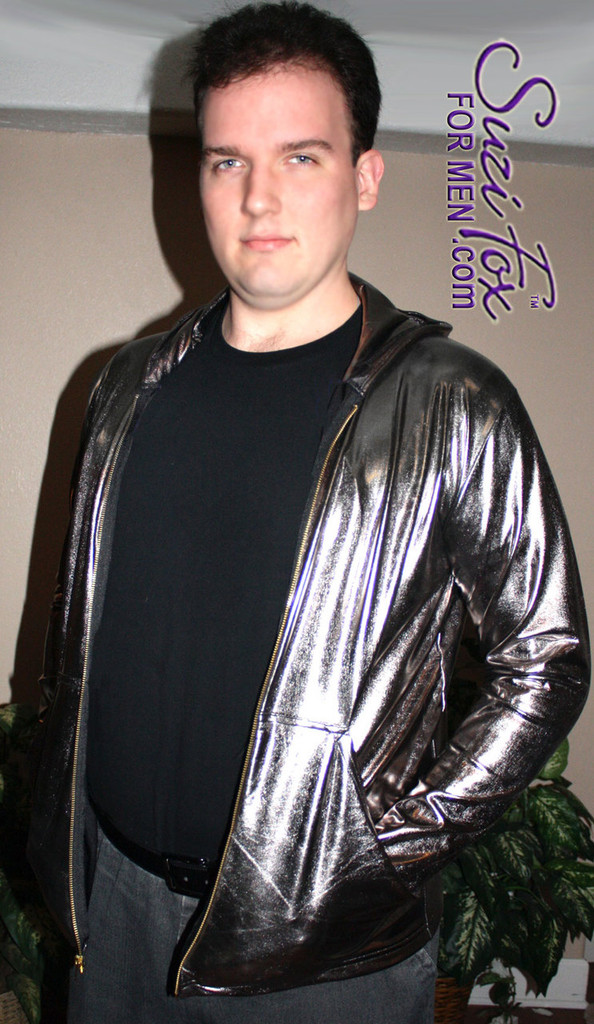 Mens Hoodie in Gunmetal Metallic Foil coated Spandex, custom made by Suzi Fox. Custom made to your measurements! Choose any fabric on this site! Available in gold, silver, copper, gunmetal, turquoise, Royal blue, red, green, purple, fuchsia, black faux leather/rubber. • Choose the zipper. • Optional wrist zippers. Made in the U.S.A.