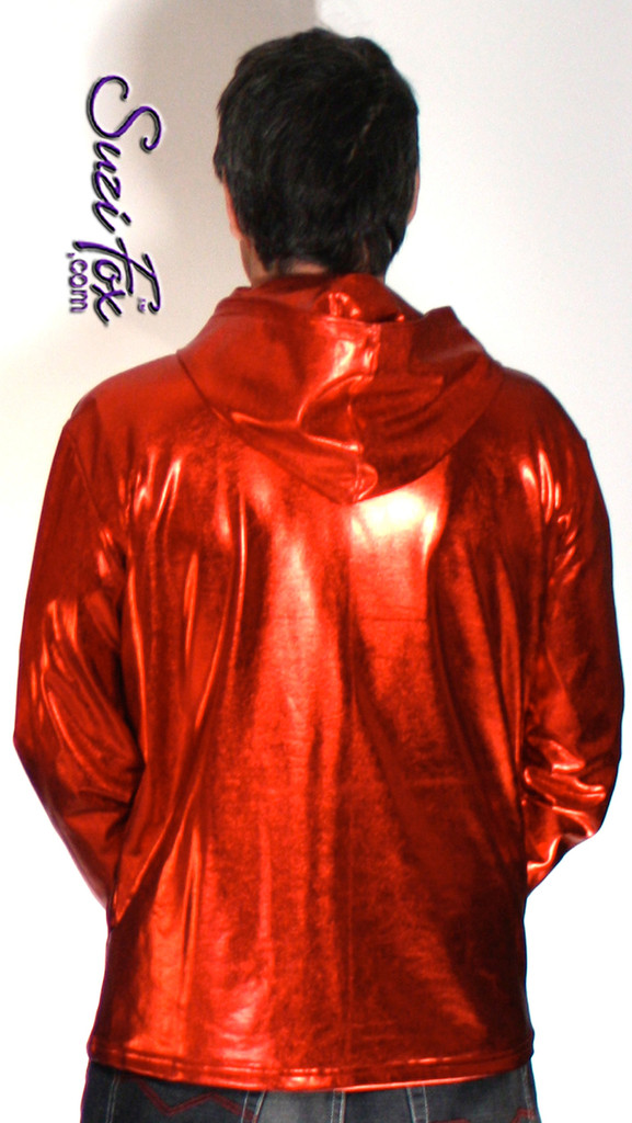 Mens Hoodie in Red Metallic Foil coated Spandex, custom made by Suzi Fox. Custom made to your measurements! Choose any fabric on this site! Available in gold, silver, copper, gunmetal, turquoise, Royal blue, red, green, purple, fuchsia, black faux leather/rubber. • Choose the zipper. • Optional wrist zippers. Made in the U.S.A.