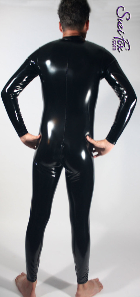 Mens Catsuit by Suzi Fox shown in Black Gloss Vinyl/PVC coated Nylon Spandex, with optional crotch zipper, custom made by Suzi Fox. • Available in black, white, red, navy blue, royal blue, turquoise, purple, Neon Pink, fuchsia, light pink, matte black (no shine), matte white (no shine), black 3D Prism, red 3D Prism, Turquoise 3D Prism, Baby Blue 3D Prism, Hot Pink 3D Prism, and any fabric on this site. • Your choice of front or back zipper (front zipper shown). • Optional 1 or 2-slider crotch zipper. • Optional wrist zippers • Optional ankle zippers • Optional finger loops • Made in the U.S.A.