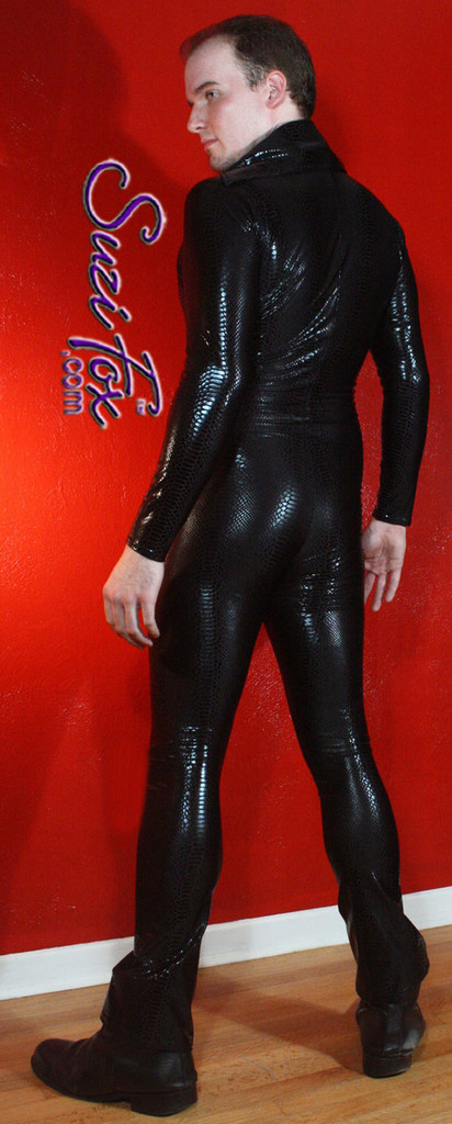 Mens Catsuit shown in Black Metallic Snake Print Spandex, custom made by Suzi Fox. Shown with boot cut legs. • Available in any fabric on this site. • Your choice of front or back zipper (front zipper shown). • Optional 1 or 2-slider crotch zipper. • Optional wrist zippers • Optional ankle zippers • Optional finger loops • Made in the U.S.A.