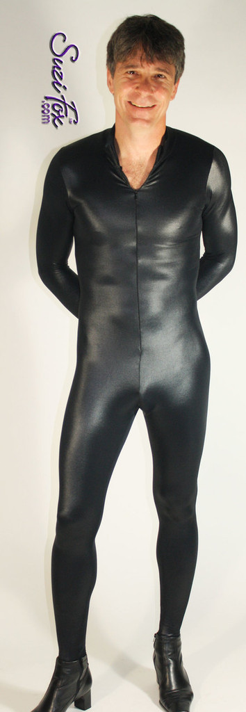 Mens Catsuit shown in Black Wetlook Lycra Spandex, custom made by Suzi Fox. • Available in black, white, red, turquoise, navy blue, royal blue, hot pink, lime green, green, yellow, steel gray, neon orange Wet Look , and any fabric on this site. • Your choice of front or back zipper (front zipper shown). • Optional 1 or 2-slider crotch zipper. • Optional wrist zippers • Optional ankle zippers • Optional finger loops • Made in the U.S.A.