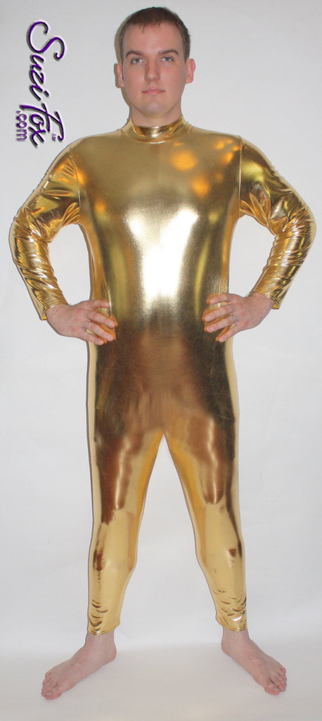 Mens Smooth Front (back zipper) Catsuit shown in Gold Metallic Foil Spandex, custom made by Suzi Fox. • Available in gold, silver, copper, gunmetal, turquoise, Royal blue, red, green, purple, fuchsia, black faux leather/rubber Metallic Foil, and any fabric on this site. • Your choice of front or back zipper (back zipper shown). • Optional 1 or 2-slider crotch zipper. • Optional wrist zippers • Optional ankle zippers • Optional finger loops • Made in the U.S.A.