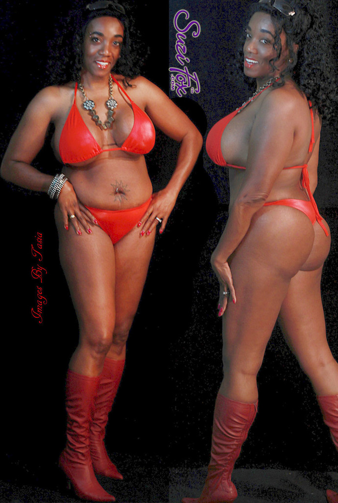 Womens T-back Thong Swim Suit bottom shown in Red Wet Look lycra Spandex, custom made by Suzi Fox. • Custom made to your measurements. • Available in black, white, red, turquoise, navy blue, royal blue, hot pink, lime green, green, yellow, steel gray, neon orange Wet Look, and any fabric on this site. • Top sold separately. • Made in the U.S.A. • Images by Tasia