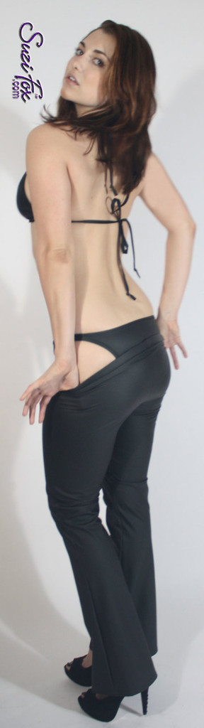 Womens Brazilian (3/4 rear coverage) Swim Suit bottom shown in Black Matte (no shine) Vinyl/PVC Spandex, custom made by Suzi Fox. • Custom made to your measurements. • Available in black, white, red, navy blue, royal blue, turquoise, purple, Neon Pink, fuchsia, light pink, matte black (no shine), matte white (no shine), black 3D Prism, red 3D Prism, Turquoise 3D Prism, Baby Blue 3D Prism, Hot Pink 3D Prism Vinyl/PVC, and any fabric on this site. • Top sold separately. (T1 top shown) • Made in the U.S.A.