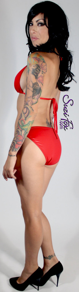 Womens full rear coverage Swim Suit bottom shown in Red Wet Look lycra Spandex, custom made by Suzi Fox. • Custom made to your measurements. • Available in black, white, red, turquoise, navy blue, royal blue, hot pink, lime green, green, yellow, steel gray, neon orange Wet Look, and any fabric on this site. • Top sold separately. (T1 top shown) • Made in the U.S.A.