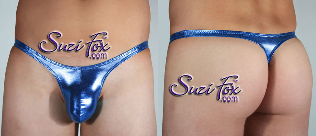 Mens Contoured Pouch Front, Wide Strap, T-Back thong - shown in Royal Blue Metallic Foil Spandex, custom made by Suzi Fox. • Available in gold, silver, copper, gunmetal, turquoise, Royal blue, red, green, purple, fuchsia, black faux leather/rubber Metallic Foil or any fabric on this site. • Standard front height is 7 inches (17.8 cm). • Available in 4, 5, 6, 7, 8, 9, and 10 inch front heights. • Wear it as swimwear OR underwear! • Made in the U.S.A.