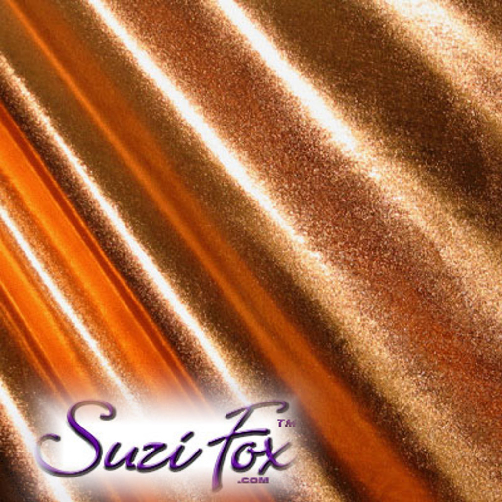 Fabric 3003. Copper Metallic Foil Coated Four Way Stretch Nylon Spandex. 80% Nylon, 20% Spandex. This is a 4-way stretch fabric that looks like a new copper penny but is stretchy! Black looks like faux leather or rubber.  Available in gold, silver, copper, gunmetal, turquoise, Royal blue, red, green, purple, fuchsia, black faux leather/rubber Metallic Foil.   Metallic will rub off if rubbed excessively. Foil will separate from spandex backing if worn too tight. Hand wash inside out in cold water, line dry. Iron inside out on low heat. Do not bleach.