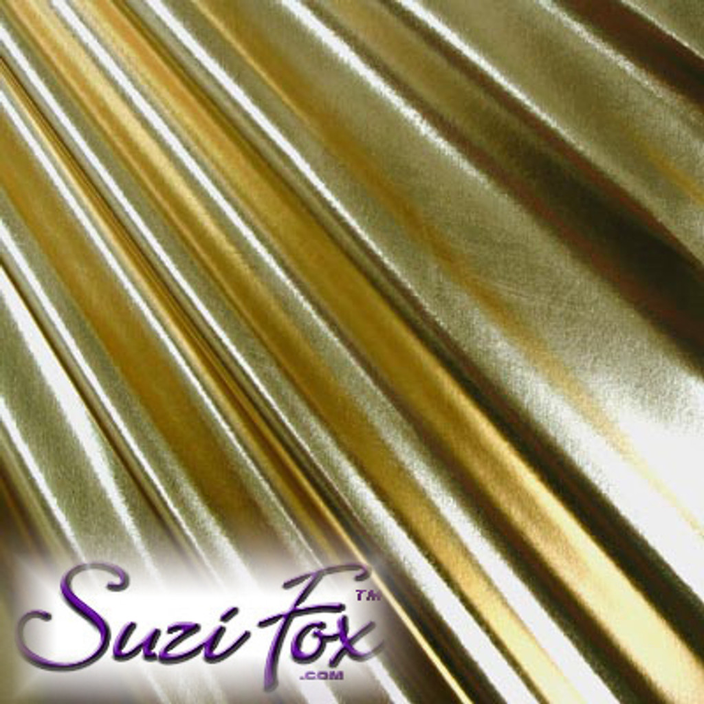 Fabric 3001. Gold Metallic Foil Coated Four Way Stretch Nylon Spandex. 80% Nylon, 20% Spandex. This is a 4-way stretch fabric that looks like gold aluminum foil but is stretchy! Black looks like faux leather or rubber.  Available in gold, silver, copper, gunmetal, turquoise, Royal blue, red, green, purple, fuchsia, black faux leather/rubber Metallic Foil.   Metallic will rub off if rubbed excessively. Foil will separate from spandex backing if worn too tight. Hand wash inside out in cold water, line dry. Iron inside out on low heat. Do not bleach.