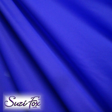 Fabric #1938 - Royal Blue Milliskin Tricot Spandex. Four Way Stretch Nylon Spandex (per yard price if you want to buy extra is $25 per yard) 80% Nylon, 20% Spandex,  Available in black, white, red, royal blue, sky blue, turquoise, purple, green, neon green, hunter green, neon pink, neon orange, athletic gold, lemon yellow, steel gray Miilliskin Tricot spandex.  This is a 4-way extreme stretch fabric with a slight shine. Light, airy, thin, and very comfortable! Lighter colors might be slightly see through when wet.  Hand wash inside out in cold water, line dry. Iron inside out on low heat. Do not bleach.