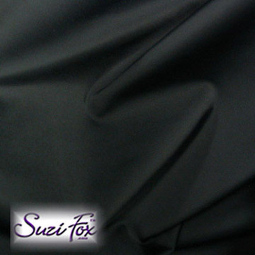 Fabric #1955 - Black Milliskin Tricot Spandex. Four Way Stretch Nylon Spandex (per yard price if you want to buy extra is $25 per yard) 80% Nylon, 20% Spandex,  Available in black, white, red, royal blue, sky blue, turquoise, purple, green, neon green, hunter green, neon pink, neon orange, athletic gold, lemon yellow, steel gray Miilliskin Tricot spandex.  This is a 4-way extreme stretch fabric with a slight shine. Light, airy, thin, and very comfortable! Lighter colors might be slightly see through when wet.  Hand wash inside out in cold water, line dry. Iron inside out on low heat. Do not bleach.