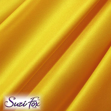 Fabric #1956 - Athletic Gold Milliskin Tricot Spandex. Four Way Stretch Nylon Spandex (per yard price if you want to buy extra is $25 per yard) 80% Nylon, 20% Spandex,  Available in black, white, red, royal blue, sky blue, turquoise, purple, green, neon green, hunter green, neon pink, neon orange, athletic gold, lemon yellow, steel gray Miilliskin Tricot spandex.  This is a 4-way extreme stretch fabric with a slight shine. Light, airy, thin, and very comfortable! Lighter colors might be slightly see through when wet.  Hand wash inside out in cold water, line dry. Iron inside out on low heat. Do not bleach.