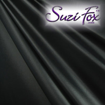 """Black Wet Look Lycra Spandex (Cire') Fabric.  85% Nylon. 15% Lycra. (per yard price if you want to buy extra is $25 per yard) This is a four way stretch fabric. Wet look lycra fabrics have undergone a heat treatment to give them a """"Cire'"""" medium shine finish. Wet look lycra is a very stretchy fabric, it hugs the body but is extremely comfortable, and dries quickly. Available in black, white, red, turquoise, navy blue, royal blue, hot pink, lime green, green, yellow, steel gray, neon orange Wet Look.  Hand wash inside out in cold water, line dry. Iron inside out on low heat. Do not bleach."""