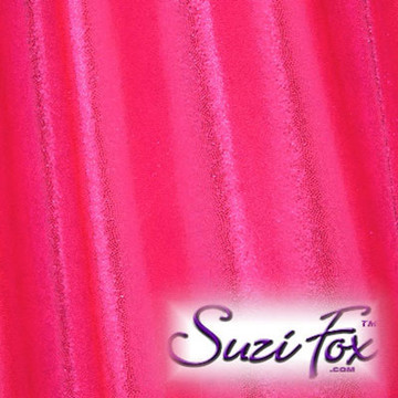 Hot Pink/Fuchsia Metallic Mystique Fabric. (per yard price if you want to buy extra is $25 per yard) 80% Nylon, 20% Spandex. Available in black, red, turquoise, green, purple, royal blue, hot pink/fuchsia, baby pink, baby blue, silver, copper, gold Metallic Mystique spandex. This is a 4-way stretch fabric with tiny metallic foil dots bonded to the spandex. Light, thin, airy, very comfortable! Glitters in the light!  Metallic will rub off if rubbed excessively. Hand wash inside out in cold water, line dry. Iron inside out on low heat. Do not bleach.