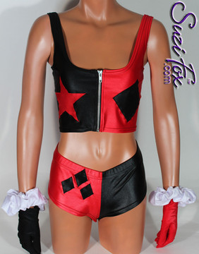 Harley Quinn Roller Derby style Tank Top shown in Black & Red Wetlook Lycra Spandex, custom made by Suzi Fox. • Custom made to your measurements! • choose your star and diamond placement. • Optional front zipper. Available in black, white, red, turquoise, navy blue, royal blue, hot pink, lime green, green, yellow, steel gray, neon orange Wet Look, and any other fabric on this site. Made in the U.S.A.