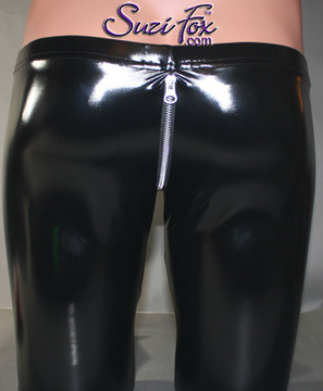 Mens 5 Zipper Leggings with crotch zipper, faux zippered pockets, and ankle zippers shown in Gloss Black Vinyl/PVC, by Suzi Fox.  • 1 inch no-roll elastic at the waist. • Choice of zippers. • Choose your ankle size - tight ankles, jean cut, boot cut, or bellbottom. • Optional rear patch pockets. • Optional belt loops. • You can choose any fabric on this site, including vinyl/PVC, Metallic Foil, Metallic Mystique, Wetlook Lycra Spandex, Milliskin Tricot Spandex.
