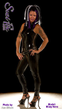 """Sleeveless Catsuit by Suzi Fox shown in Gloss Black Vinyl/PVC Spandex. • Choose any fabric on this site, including vinyl/PVC, metallic foil, metallic mystique, wetlook lycra Spandex, Milliskin Tricot Spandex. • Optional Custom Sizing. • Plus size available. • Optional 1 or 2-slider crotch zipper. • Optional """"Selene"""" from Underworld TS zipper. • Optional ankle zippers. • Worldwide shipping.  • Made in the U.S.A."""