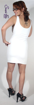 Tank Mini Dress in Matte White (no shine) Vinyl/PVC Spandex by Suzi Fox. Choose any fabric on this site! Available in matte black (no shine), matte white (no shine), gloss black, white, red, navy blue, royal blue, turquoise, purple, fuchsia, neon pink, light pink, stretch vinyl/PVC coated nylon spandex. Made in the U.S.A.
