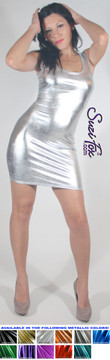 Tank Mini Dress in Silver Metallic Foil coated Spandex by Suzi Fox. Choose any fabric on this site! Available in black metallic faux leather/rubber, gold, silver, copper, royal blue, purple, turquoise, red, green, fuchsia, gun metal metallic foil coated nylon spandex. • Optional 2-slider zipper going the length of the dress, front or back, unzip from the top of the bottom! Made in the U.S.A.