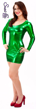 Scoop Neck, Long Sleeved Mini Dress in Green Metallic Foil Spandex, custom made by Suzi Fox. Choose any fabric on this site! Custom made to your measurements. Available in gold, silver, copper, royal blue, purple, turquoise, red, green, fuchsia, gun metal, black metallic foil leather/rubber coated nylon spandex. • Optional wrist zippers. Made in the U.S.A.