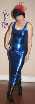 Tank Maxi Dress in Royal Blue Metallic Foil coated Spandex by Suzi Fox. Choose any fabric on this site! Custom made to your measurements. Available in black metallic faux leather/rubber, gold, silver, copper, royal blue, purple, turquoise, red, green, fuchsia, gun metal metallic foil coated nylon spandex. Made in the U.S.A.