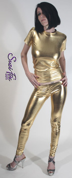 Womens Leggings shown in Gold Metallic Foil Spandex, custom made by Suzi Fox. Super Low rise shown. You can order this in almost any fabric on this site.  • Custom made to your measurements! • Available in gold, silver, copper, royal blue, purple, turquoise, red, green, fuchsia, gun metal, black faux leather/rubber coated spandex. This is a 4-way stretch fabric with a brilliant shine. • 1 inch elastic at the waist. • Optional 1 or 2-slider crotch zipper. • Optional ankle zippers • Optional rear patch pockets • Optional belt loops • Made in the U.S.A.