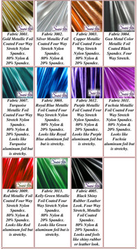Metallic Foil Coated Four Way Stretch Nylon Spandex. Looks like colored aluminum foil! 80% Nylon, 20% Spandex.  Available in Fuchsia, Gold, Silver, Copper, Gunmetal, Turquoise, Royal Blue, Purple, Red, Green, Black faux leather/rubber Metallic Foil coated Spandex.  Metallic will rub off if rubbed excessively. Foil will separate from spandex backing if worn too tight. Hand wash inside out in cold water, line dry. Iron inside out on low heat. Do not bleach.