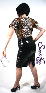 Pencil Skirt shown in Black Vinyl/PVC Spandex, custom made by Suzi Fox. Custom made to your measurements! Available in black, white, red, navy blue, royal blue, turquoise, purple, Neon Pink, fuchsia, light pink, matte black (no shine), matte white (no shine), black 3D Prism, red 3D Prism, Turquoise 3D Prism, Baby Blue 3D Prism, Hot Pink 3D Prism, and any other fabric on this site. • Optional belt loops Made in the U.S.A.