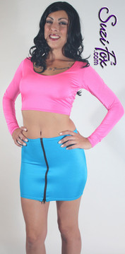 Front Zipper Skirt shown in Turquoise Shiny Milliskin Tricot Spandex by Suzi Fox. Custom made to your measurements! Available in black, white, red, royal blue, sky blue, turquoise, purple, green, neon green, hunter green, neon pink, neon orange, athletic gold, lemon yellow, steel gray Miilliskin Tricot spandex, and any fabric on this site. Made in the U.S.A.