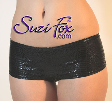 Womens Cheeky Peeker Booty Shorts in Black Snake Print Metallic Foil coated Spandex by Suzi Fox. Choose any fabric on this site! Made in the U.S.A.
