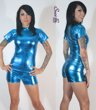 Womens Boy Shorts shown in Royal Blue Metallic Foil coated Spandex, custom made by Suzi Fox. Custom made to your measurements! Available in gold, silver, copper, gunmetal, turquoise, Royal blue, red, green, purple, fuchsia, black faux leather/rubber, and any other fabric on this site. • 1 inch elastic at the waist. • 2 inch inseam is standard. • Optional 1 or 2-slider crotch zippers. • Optional rear patch pockets. • Optional Belt Loops. Made in the U.S.A.
