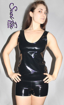 Womens Boy Shorts shown in Black Gloss Vinyl/PVC, custom made by Suzi Fox. Custom made to your measurements! Available in black, white, red, navy blue, royal blue, turquoise, purple, Neon Pink, fuchsia, light pink, matte black (no shine), matte white (no shine), black 3D Prism, red 3D Prism, Turquoise 3D Prism, Baby Blue 3D Prism, Hot Pink 3D Prism, and any other fabric on this site. • 1 inch elastic at the waist. • 2 inch inseam is standard. • Optional 1 or 2-slider crotch zippers. • Optional rear patch pockets. • Optional Belt Loops. Made in the U.S.A.