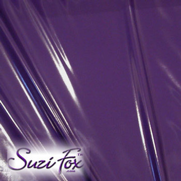 """Purple Gloss Vinyl/PVC.  Four Way Stretch. 80% Nylon, 20% Spandex.  Polyurethane coated. Very glossy! This fabric is very tight, 4-way stretch with about a 2"""" stretch. It will hide minor cellulite and hold in small love handles. Vinyl will separate from backing if worn too tight or if rubbed excessively. If you like PVC, you will LOVE this fabric! It's also a great alternative to latex.   Available in black, white, red, navy blue, royal blue, turquoise, purple, Neon Pink, fuchsia, light pink, matte black (no shine), matte white (no shine), black 3D Prism, red 3D Prism, Turquoise 3D Prism, Baby Blue 3D Prism, Hot Pink 3D Prism.  Hand wash inside out in cold water, line dry. Iron inside out on low heat. Do not bleach."""