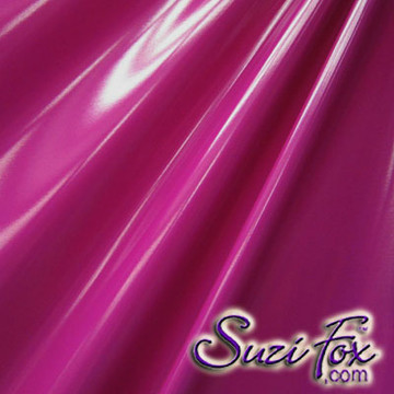"Fuchsia Gloss Vinyl/PVC.  Four Way Stretch. 80% Nylon, 20% Spandex.  Polyurethane coated. Very glossy! This fabric is very tight, 4-way stretch with about a 2"" stretch. It will hide minor cellulite and hold in small love handles. Vinyl will separate from backing if worn too tight or if rubbed excessively. If you like PVC, you will LOVE this fabric! It's also a great alternative to latex.   Available in black, white, red, navy blue, royal blue, turquoise, purple, Neon Pink, fuchsia, light pink, matte black (no shine), matte white (no shine), black 3D Prism, red 3D Prism, Turquoise 3D Prism, Baby Blue 3D Prism, Hot Pink 3D Prism.  Hand wash inside out in cold water, line dry. Iron inside out on low heat. Do not bleach."