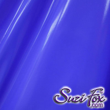 "Royal Blue Gloss Vinyl/PVC.  Four Way Stretch. 80% Nylon, 20% Spandex.  Polyurethane coated. Very glossy! This fabric is very tight, 4-way stretch with about a 2"" stretch. It will hide minor cellulite and hold in small love handles. Vinyl will separate from backing if worn too tight or if rubbed excessively. If you like PVC, you will LOVE this fabric! It's also a great alternative to latex.   Available in black, white, red, navy blue, royal blue, turquoise, purple, Neon Pink, fuchsia, light pink, matte black (no shine), matte white (no shine), black 3D Prism, red 3D Prism, Turquoise 3D Prism, Baby Blue 3D Prism, Hot Pink 3D Prism.  Hand wash inside out in cold water, line dry. Iron inside out on low heat. Do not bleach."