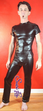 Mens Hiphugger Boot Cut Pants shown in Black Metallic Foil (faux leather) coated Spandex, custom made by Suzi Fox. Custom made to your measurements! • Available in gold, silver, copper, gunmetal, turquoise, Royal blue, red, green, purple, fuchsia, black faux leather/rubber Metallic Foil and any fabric on this site. • 1 inch no-roll elastic at the waist. • Optional 1 or 2-slider crotch zipper. • Choose your ankle size - tight ankles, jean cut, boot cut, or bellbottom. • Optional ankle zippers. • Optional belt loops. • Optional rear patch pockets. Made in the U.S.A.