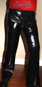 Mens Jean style Pants shown in Gloss Black  Vinyl/PVC Spandex, custom made by Suzi Fox. Custom made to your measurements! • Front fly zipper, and waistband. • Available in gloss black, white, red, navy blue, royal blue, turquoise, purple, Neon Pink, fuchsia, light pink, matte black (no shine), matte white (no shine), black 3D Prism, red 3D Prism, Turquoise 3D Prism, Baby Blue 3D Prism, Hot Pink 3D Prism Vinyl and any fabric on this site. • Choose your ankle size - tight ankles, jean cut, boot cut, or bellbottom. • Optional ankle zippers. • Optional belt loops. • Optional rear patch pockets. Made in the U.S.A.