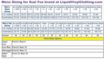 Mens standard sizing chart. For custom mens pants and leggings, go to  http://liquidvinylclothing.com/custom-mens-leggings-pants/