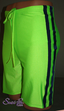 Mens Basketball or Board shorts shown in Neon Green and Navy Blue Milliskin Tricot Spandex, custom made by Suzi Fox. • Available in black, white, red, royal blue, sky blue, turquoise, purple, green, neon green, hunter green, neon pink, neon orange, athletic gold, lemon yellow, steel gray Miilliskin Tricot spandex and any fabric on this site. • 1 inch no-roll elastic at the waist. • Optional belt loops. • Optional rear patch pockets. • Made in the U.S.A.