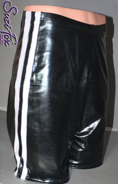 Mens Basketball or Board shorts shown in Black Faux Leather Metallic Foil with White Wetlook stripes, custom made by Suzi Fox. • Available in gold, silver, copper, gunmetal, turquoise, Royal blue, red, green, purple, fuchsia, black faux leather/rubber Metallic Foil, and any fabric on this site. • 1 inch no-roll elastic at the waist. • Optional belt loops. • Optional rear patch pockets. • Optional drawstring. • Made in the U.S.A.
