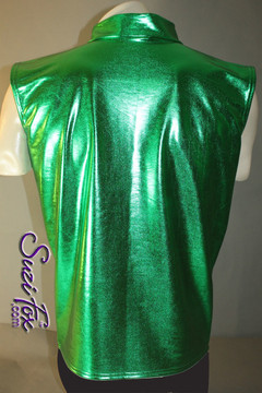 Mens Sleeveless, Front zipper Vest shown in Green Metallic Foil coated Spandex, custom made by Suzi Fox. Custom made to your measurements! Choose any fabric on this site! Available in gold, silver, copper, gunmetal, turquoise, Royal blue, red, green, purple, fuchsia, black faux leather/rubber. • Choose the zipper. Made in the U.S.A.