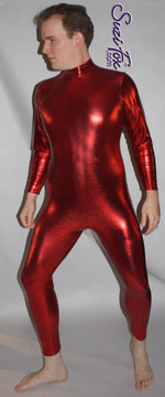 Mens Custom, Back zipper (smooth front) Catsuit shown in Red Metallic Foil Spandex, custom made by Suzi Fox. • Available in gold, silver, copper, gunmetal, turquoise, Royal blue, red, green, purple, fuchsia, black faux leather/rubber Metallic Foil, and any fabric on this site. • Optional wrist zippers • Optional ankle zippers • Optional finger loops • Made in the U.S.A.
