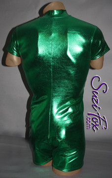 Mens Romper shown in Green Metallic Foil Spandex, custom made by Suzi Fox. • Available in gold, silver, copper, gunmetal, turquoise, Royal blue, red, green, purple, fuchsia, black faux leather/rubber Metallic Foil, and any fabric on this site. • Your choice of front or back zipper (front zipper shown). • Optional 1 or 2-slider crotch zipper. • Optional long sleeves. • Optional wrist zippers • Optional finger loops • 4 inch inseam and 6 inch sleeve shown. • Made in the U.S.A.