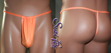Men's Adjustable Pouch, G-String thong, shown in Neon Orange Wet Look Lycra Spandex, custom made by Suzi Fox. • Available in black, white, red, navy blue, royal blue, hot pink, lime green, green, yellow, neon orange, turquoise, steel gray Wetlook or any fabric on this site. • Standard front height is 8 inches (20.3 cm) tall. • Available in 4, 5, 6, 7, 8, 9, and 10 inch front heights. • Choose your pouch size! • Adjustable! Make it thinner or wider! Made in the U.S.A.