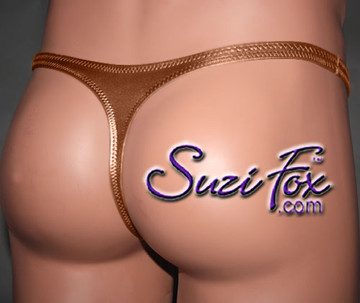 Mens Contoured Pouch Front, Wide Strap, T-Back thong - shown in Copper Metallic Foil Spandex, custom made by Suzi Fox. • Available in gold, silver, copper, gunmetal, turquoise, Royal blue, red, green, purple, fuchsia, black faux leather/rubber Metallic Foil or any fabric on this site. • Standard front height is 7 inches (17.8 cm). • Available in 4, 5, 6, 7, 8, 9, and 10 inch front heights. • Wear it as swimwear OR underwear! • Made in the U.S.A.