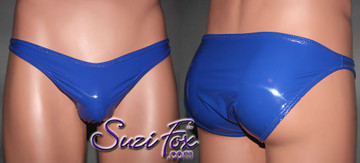 Mens Smooth Front, Wide Strap, Brazilian Bikini - shown in Gloss Royal Blue Vinyl/PVC Spandex, custom made by Suzi Fox. • Available in black, white, red, navy blue, royal blue, turquoise, purple, Neon Pink, fuchsia, light pink, matte black (no shine), matte white (no shine), black 3D Prism, red 3D Prism, Turquoise 3D Prism, Baby Blue 3D Prism, Hot Pink 3D Prism Vinyl/PVC or any fabric on this site. • Standard front height is 6 inches (15.24 cm) tall. • Available in 4, 5, 6, 7, 8, 9, and 10 inch front heights. • Wear it as swimwear OR underwear! • Made in the U.S.A.