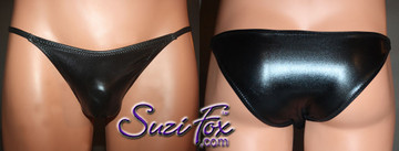 Mens Smooth Front, Skinny Strap, Brazilian Bikini - shown in Black Faux Leather Metallic Foil Spandex, custom made by Suzi Fox. • Available in gold, silver, copper, gunmetal, turquoise, Royal blue, red, green, purple, fuchsia, black faux leather/rubber Metallic Foil or any fabric on this site. • Standard front height is 6 inches (15.24 cm). • Available in 4, 5, 6, 7, 8, 9, and 10 inch front heights. • Wear it as swimwear OR underwear! • Made in the U.S.A.