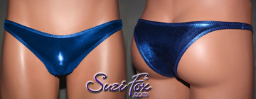 Men's Smooth Front, Wide Strap, Tanga Bikini - shown in Royal Blue Metallic Foil Spandex, custom made by Suzi Fox. • Available in gold, silver, copper, gunmetal, turquoise, Royal blue, red, green, purple, fuchsia, black faux leather/rubber Metallic Foil or any fabric on this site. • Standard front height is 7 inches (17.8 cm). • Available in 4, 5, 6, 7, 8, 9, and 10 inch front heights. • Wear it as swimwear or underwear! Made in the U.S.A.