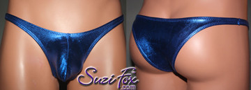 Men's Pouch Front, Wide Strap, Tanga Bikini - shown in Royal Blue Metallic Foil Spandex, custom made by Suzi Fox. • Available in gold, silver, copper, gunmetal, turquoise, Royal blue, red, green, purple, fuchsia, black faux leather/rubber Metallic Foil or any fabric on this site. • Standard front height is (7 inches (17.8 cm). • Available in 4, 5, 6, 7, 8, 9, and 10 inch front heights. • Choose your pouch size! • Wear it as swimwear or underwear! Made in the U.S.A.